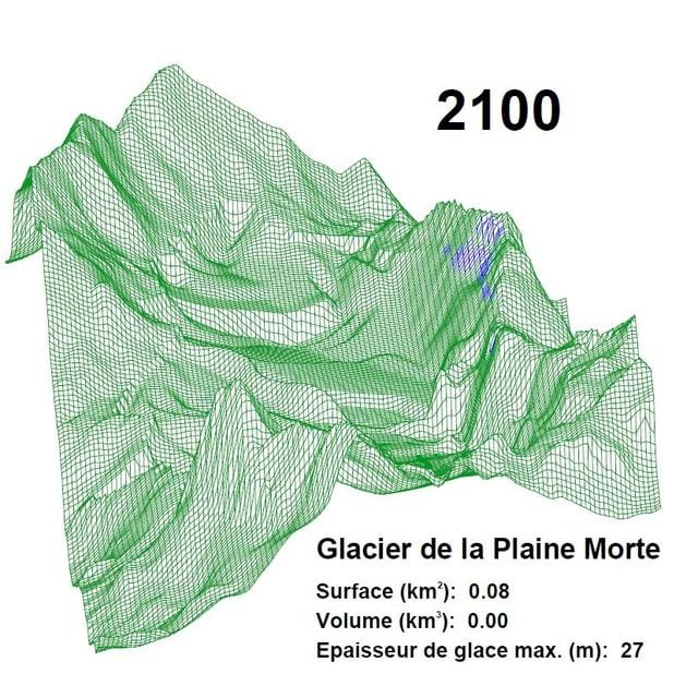 Fläche Plaine Morte Gletscher im Jahr 2100