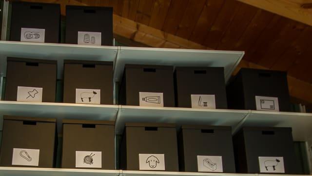 Auf dem Bild ist eine Anordnung von dunkelgrünen Boxen zu sehen. Die Inhalte der verschiedenen Boxen sind mit einem Bild auf der Front gekennzeichnet.