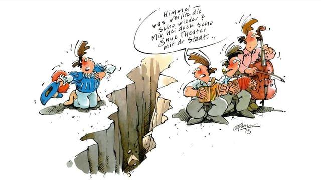 Karikatur: Ein Schauspieler mit Hut kniet links von einem Graben, Musikanten stehen rechts.