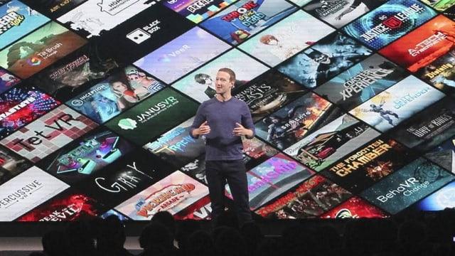 Marc Zuckerberg steht anlässlich einer Präsentation der Oculus Quest auf einer Bühne.