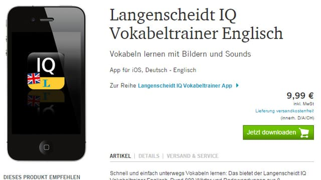 Bild eines Smartohones mit App. Preis: 9.99 Euro