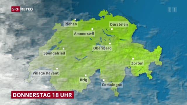 Wetterkarte mit Zorten, Brig, Riehen etc.
