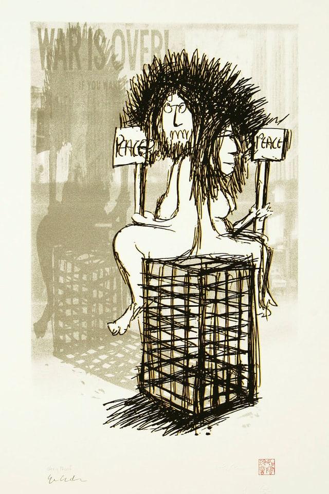 """John Lennons Zeichnung «War is Over». Sie zeigt einen Mann und eine Frau auf einem Käfig sitzend, beide halten ein Schild mit der Aufschrift """"Peace""""."""