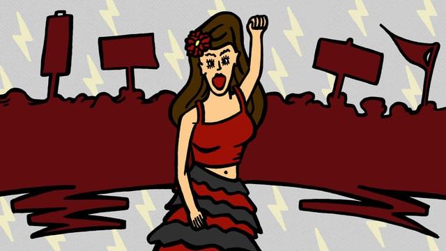 Illustration: Carmen mit erhobener Faust, im Hintergrund ein schemenhafter Demonstrationszug.