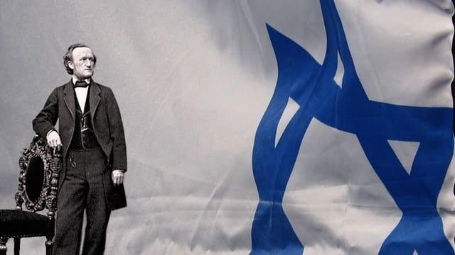Der Komponist Richard Wagner in einer Fotomontage vor der israelischen Flagge.
