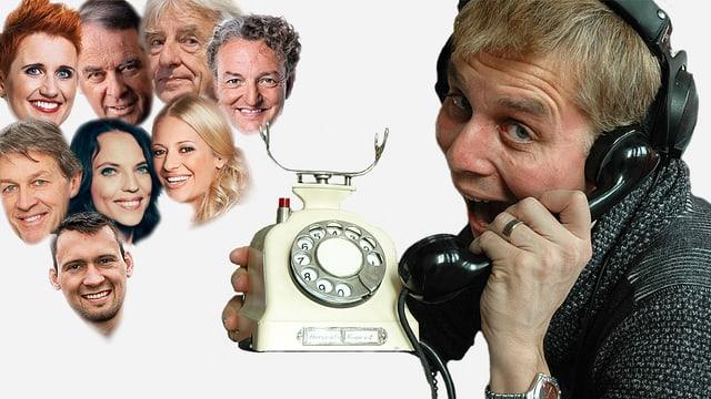 Reto Scherrer am Telefon, im Hintergrund sind die Köpfe verschiedener Prominenter zu sehen.