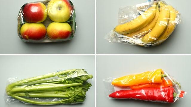 Eine Reihe von plastikverpackten Gemüsesorten.