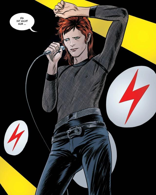 Comic Zeichnung von David Bowie mit roten Haaren und Mikrofon in der Hand