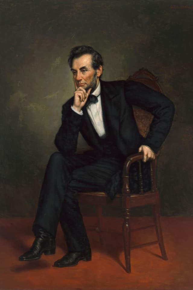 Abraham Lincoln in Denkerpose.