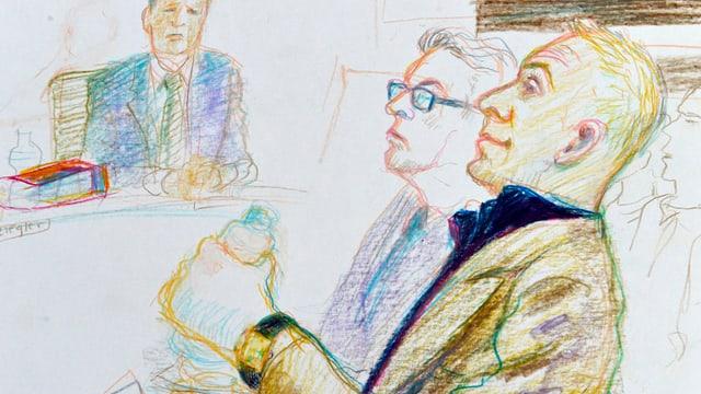 Der Angeklagte (rechts) und sein Verteidiger während der Urteilseröffnung.