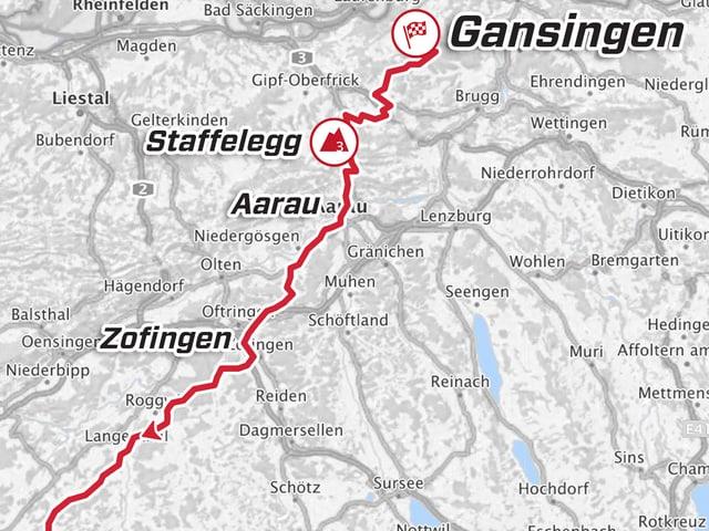 Karte der 4. Etappe