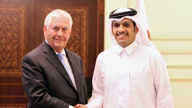 Rex Tillerson und sein katarischer Amtskollege Sheikh Mohammed bin Abdulrahman al-Thani