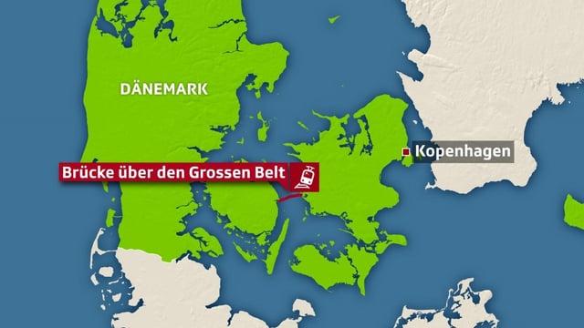 Karte mit Brücke über grossen Belt.