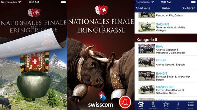 Screenshots der App «Nationales Finale der Eringerrasse».