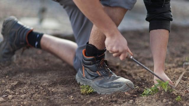 Ein Mann trägt eine elektronische Fussfessel. Er arbeitet in einem Garten.