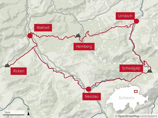 Die Route von Ricken zur Schwägalp