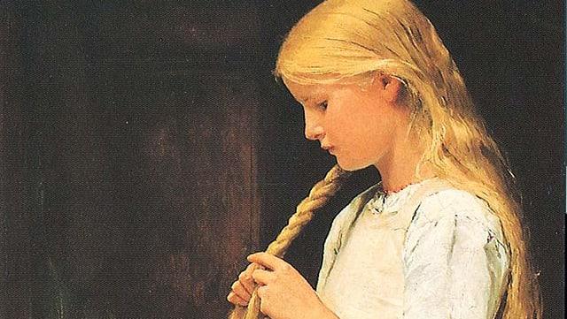 Gemälde: Ein blondes Mädchen felchtet einen Zopf.