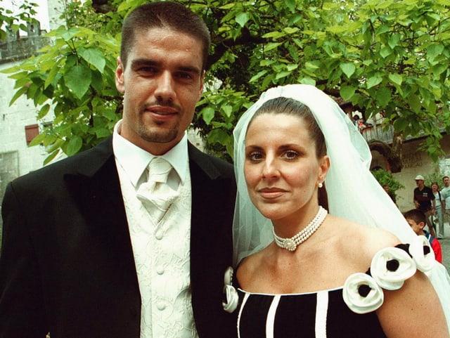 Pascal und Beatriz Zuberbühler bei ihrer Hochzeit.