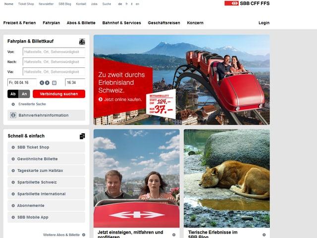Screenshot der SBB-Website