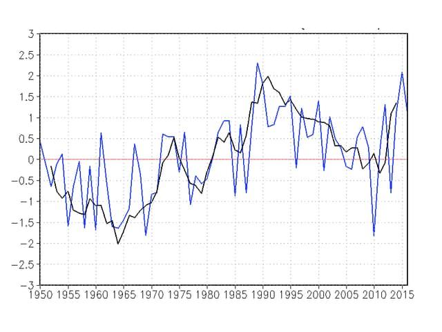 Blaue Kurve 1950 bis 2015