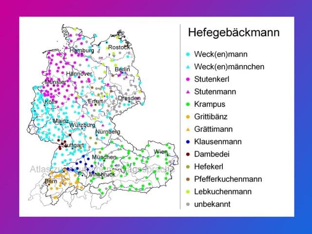 Landkarte mit vielen verschiedenfarbigen Punkten.