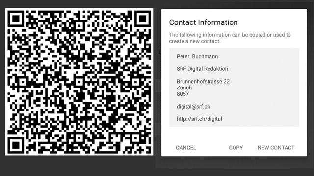 Rechts QR-Code, links Screenshot einer App.