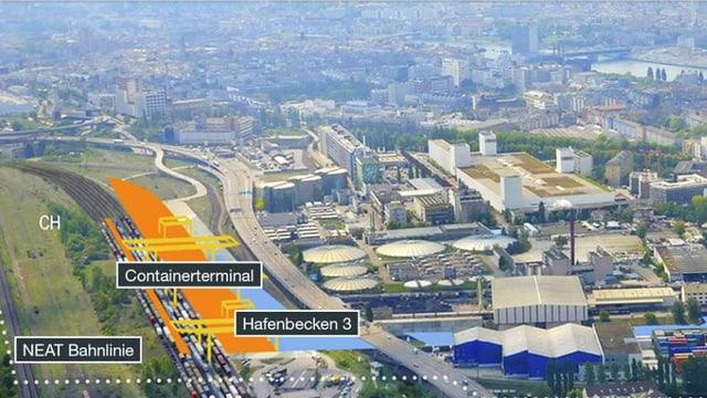 Flugaufname Hafen mit Plänen Gateway