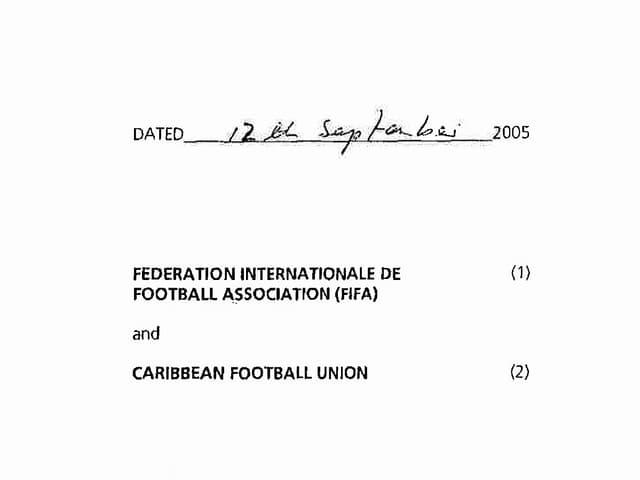 Das Datum des Vertrages 12. September 2005. Darunter die beiden Vertragsparteien FIFA und CFU.
