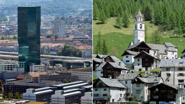Die linke Bildhälfte zeigt den Blick über die Stadt Zürich mit dem Prime Tower im Vordergrund, während rechts das Tessiner Bergdörfchen Bosco Gurin zu sehen ist.