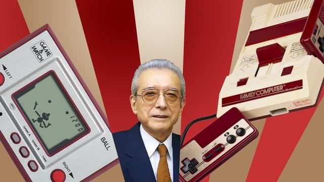 Hiroshi Yamauchi lugt durch einen bunten Strahlenvorhang, flankiert von Nintendo Produkten.