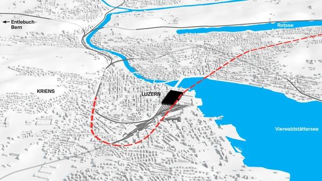 Eine Visualisierung der Streckenführung des Projekts Durchgangsbahnhof Luzern.