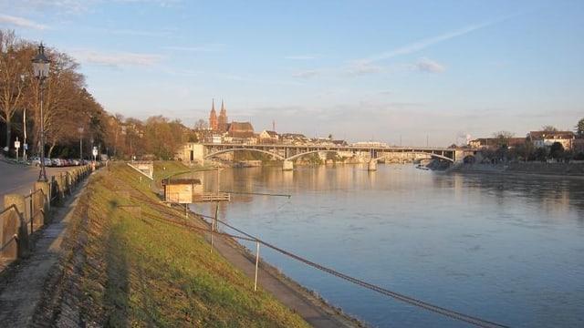 Bild auf den Rheinuferweg und den Rhein, im Hintergrund die Wettsteinbrücke und das Münster.