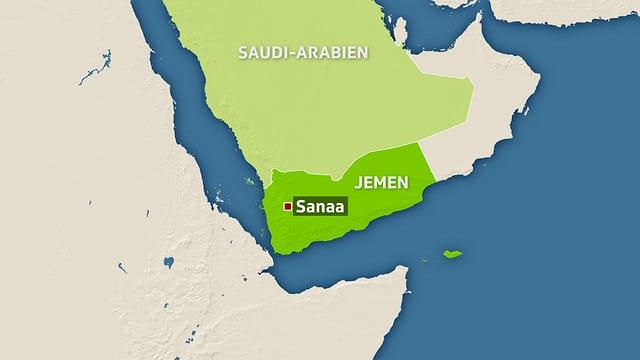 Kartenausschnitt, der das Staatsgebiet des Jemens zeigt.