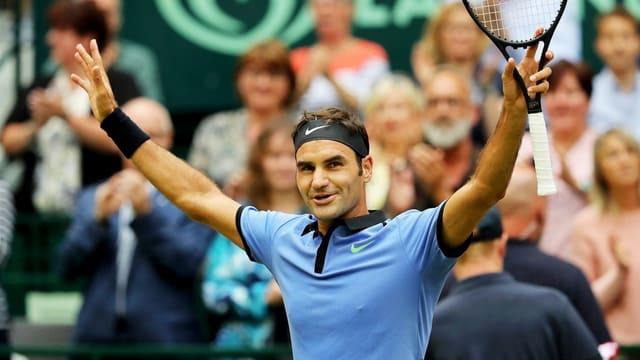 Roger Federer, il victur dal mezfinal a Halle.