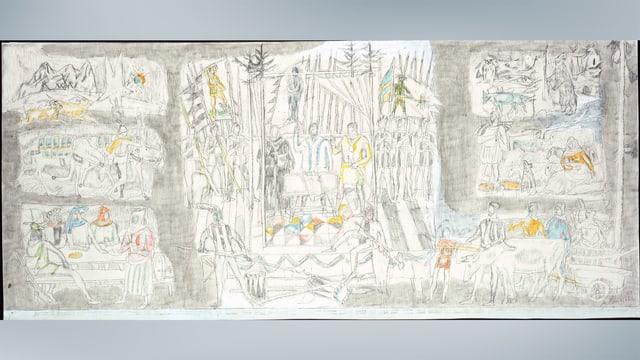 Sboz II da la pictura murala en la  sala dal Cussegl grond (1960)