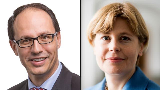 Porträts von Esther Friedli und Marc Mächler.