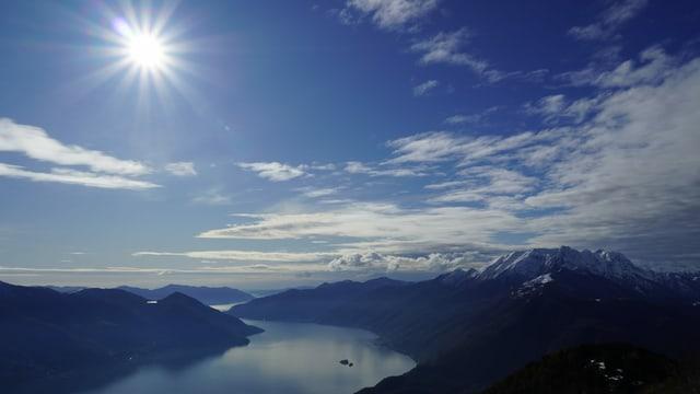 Blick auf Berge und See, darüber grösstenteils blauer Himmel mit Sonne.