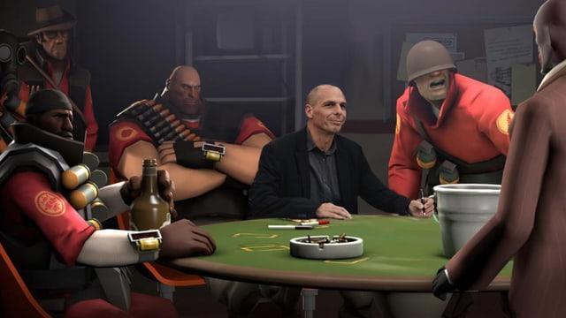 Yanis Vaoruafkis sitzt in einer Szene des Games Team Fortress.