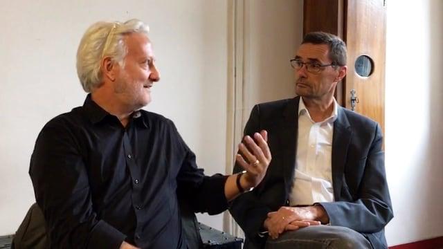 Architekt und Berater Leo Graf diskutiert mit Stadtpräsident Sönke Bandixen.