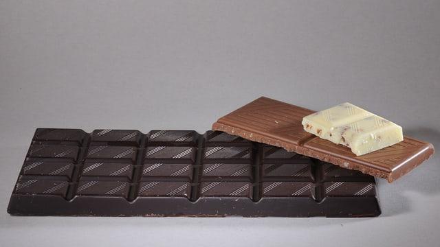 Das Foto zeigt eine Tafel dunkle Schokalade, einen Riegel hellbraune Schokalade und ein Stück weisse Schokolade.