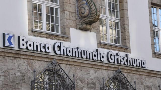 La fatschada da la Banca chantunala grischuna a Cuira
