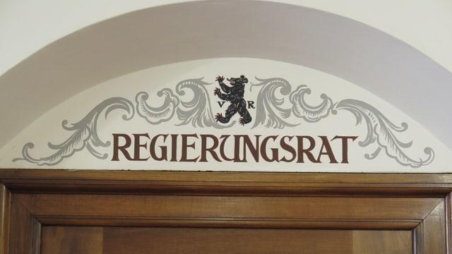 Beschriftung über Regierungsrats-Zimmer