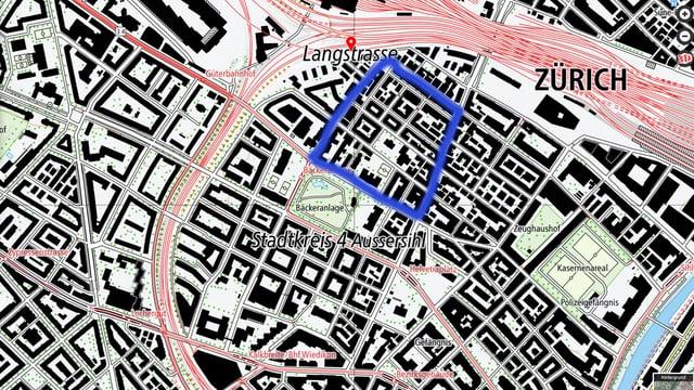 Eine Karte des Langstrassenquartiers in Zürich