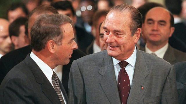Adolf Ogi und Jacques Chirac 1998 beim französischen Staatsbesuch in der Schweiz.