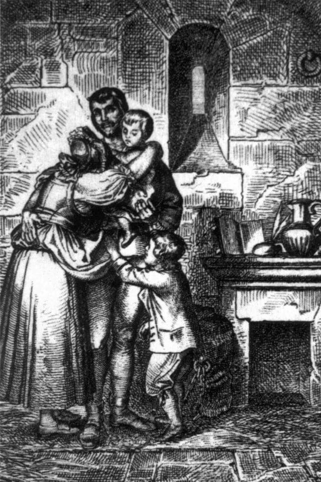 Schwarzweiss-Szene, Frau und zwei Kinder umarmen Mann