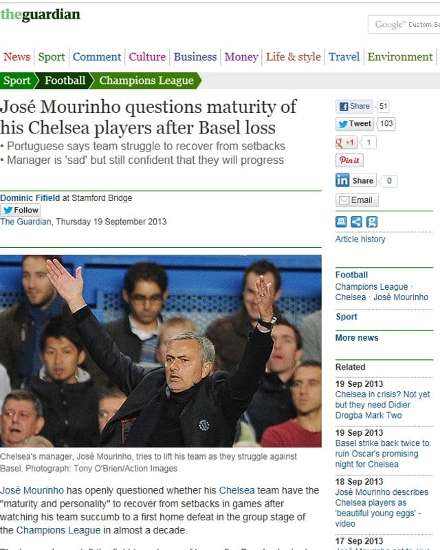 José Mourinho stellt die Reife seiner Spieler nach der Niederlage gegen Basel in Frage.