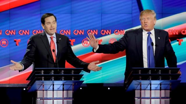 Rubio und Trump, hier bei einer TV-Debatte im Februar.