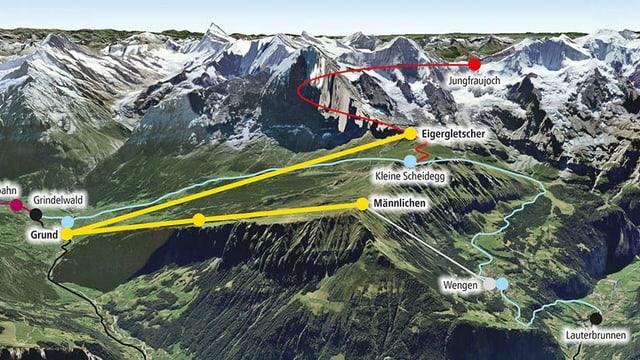Karte mit der Linienführung.