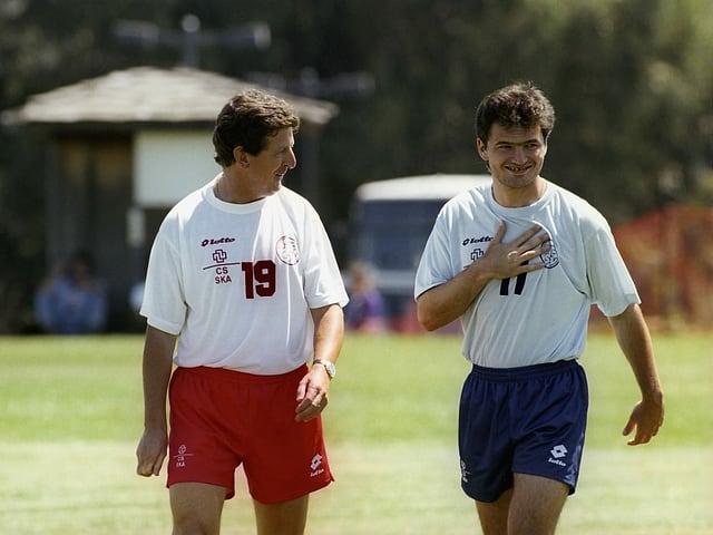 Roy Hodgson mit Stéphane Chapuisat vor der WM 1994.