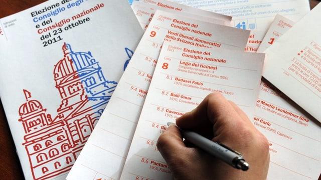 Ein Wähler füllt eine Wahlliste aus.